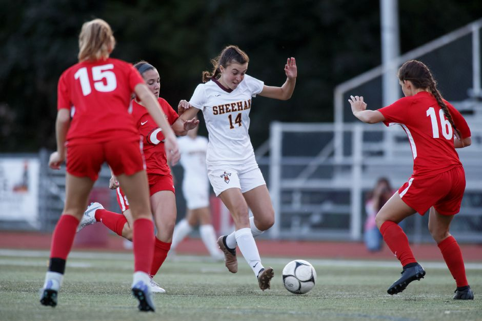 Olivia Dubuc's goal in the 60th minute on Saturday carried the Sheehan girls soccer team to a 1-0 victory in Cromwell in its season opener. | Justin Weekes / Special to the Record-Journal