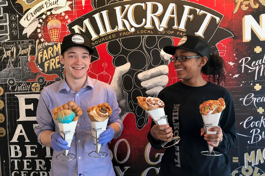 John Southard, general manager, and Cheyenne Rogers, chef, hold a variety of bubble cones filled with liquid nitrogen ice cream at Milkcraft, 280 Crown St., New Haven. |Ashley Kus, Record-Journal