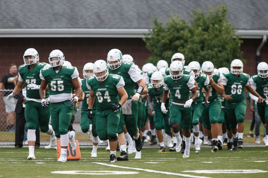 Maloney takes the field to start their 2018 season Friday at Falcon Field in Meriden September 7, 2018 | Justin Weekes / Special to the Record-Journal