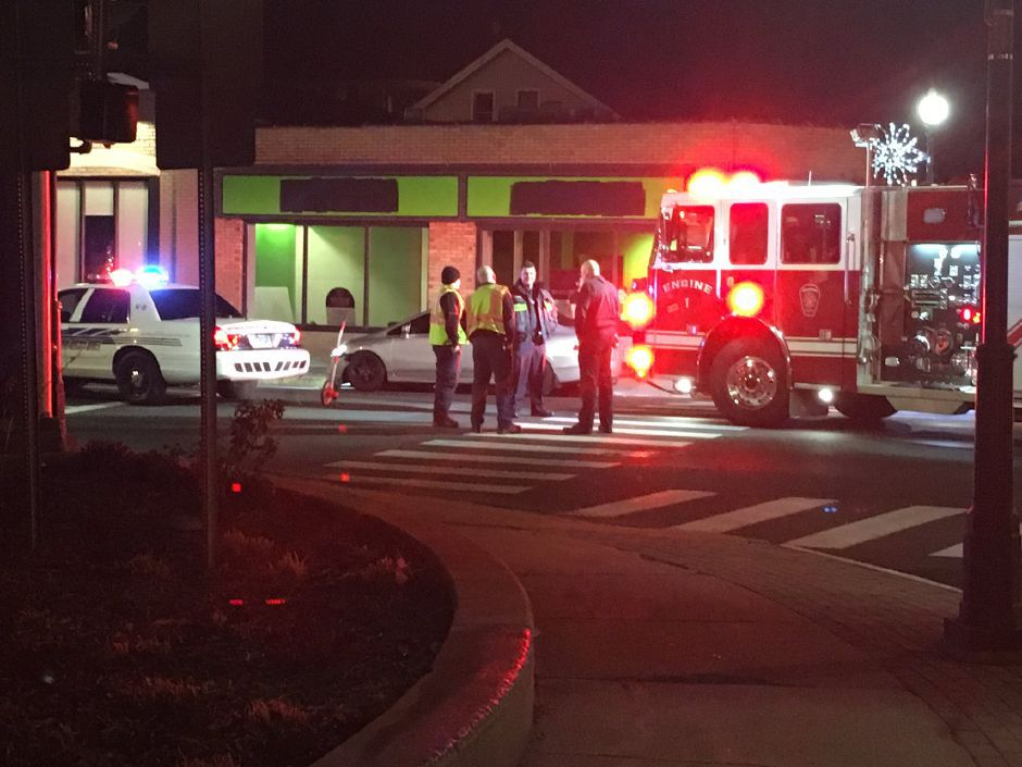 A pedestrian was hospitalized after being struck by a vehicle while crossing Route 5 in Wallingford Saturday night. Police say he sustained serious injuries and was transported to Yale New Haven Hospital. | Lauren Takores/Record-Journal