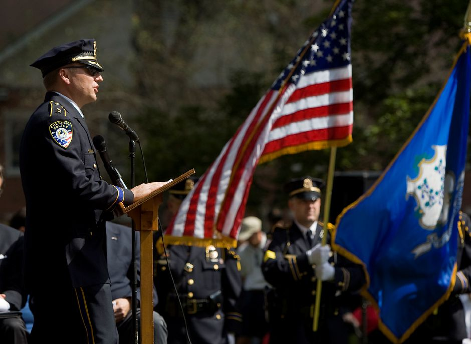 Cheshire Police Chief Neil Dryfe speaks during a 10th Anniversary 9/11 Memorial Service held on the Congregational Church Green in Cheshire September 11, 2011. (Dave Zajac/Record-Journal)