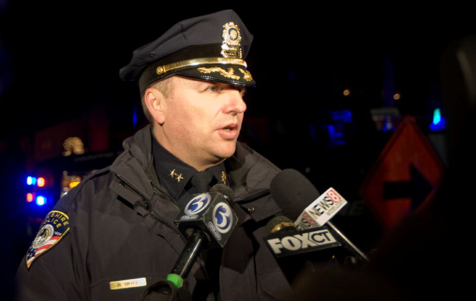 Police Chief, Neil Dryfe, speaks to members of the media after a shooting occurred on Cornwall Ave. in Cheshire, Tuesday, December 16, 2014. | Dave Zajac / Record-Journal