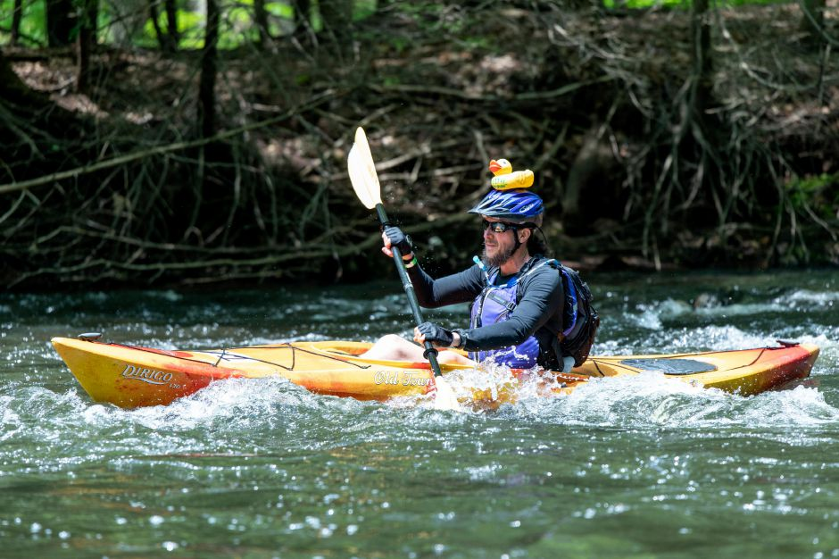 A kayak paddler navigates rougher water in the Quinnipiac Downriver Classic race on May 19, 2019. The yearly kayak and canoe race attracted 35 participants this year, going from the Meriden-Waterbury Turnpike to the Red Bridge on Oregon Road in Meriden. Devin Leith-Yessian/Record-Journal