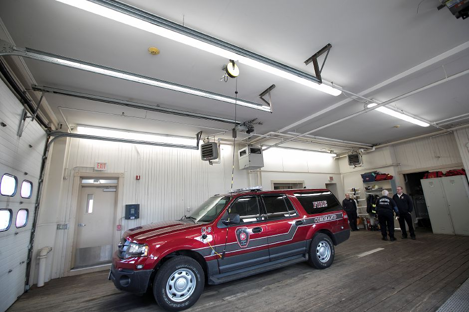 Fluorescent lighting at fire headquarters on Broad Street in Meriden, Friday, March 16, 2018. The city plans to conduct a second wave of LED light conversions in partnership with Eversource Energy at three fire stations and two municipal buildings. Dave Zajac, Record-Journal