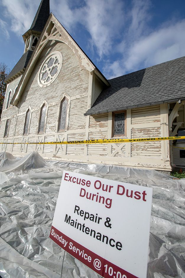 Renovations continue on Plantsville Congregational Church, Tuesday, Oct. 9, 2018. Dave Zajac, Record-Journal