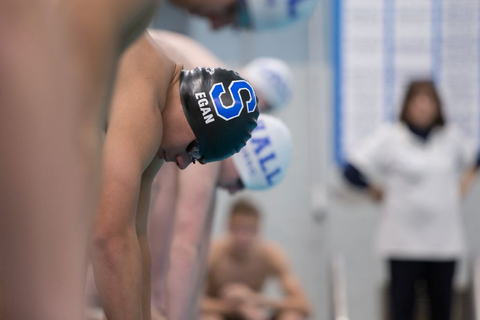 Brian Egan swam the lead-off legs on Southington's first-place 200 and 400 freestyle relays in Tuesday's win over Northwest Catholic. | Justin Weekes / Special to the Record-Journal