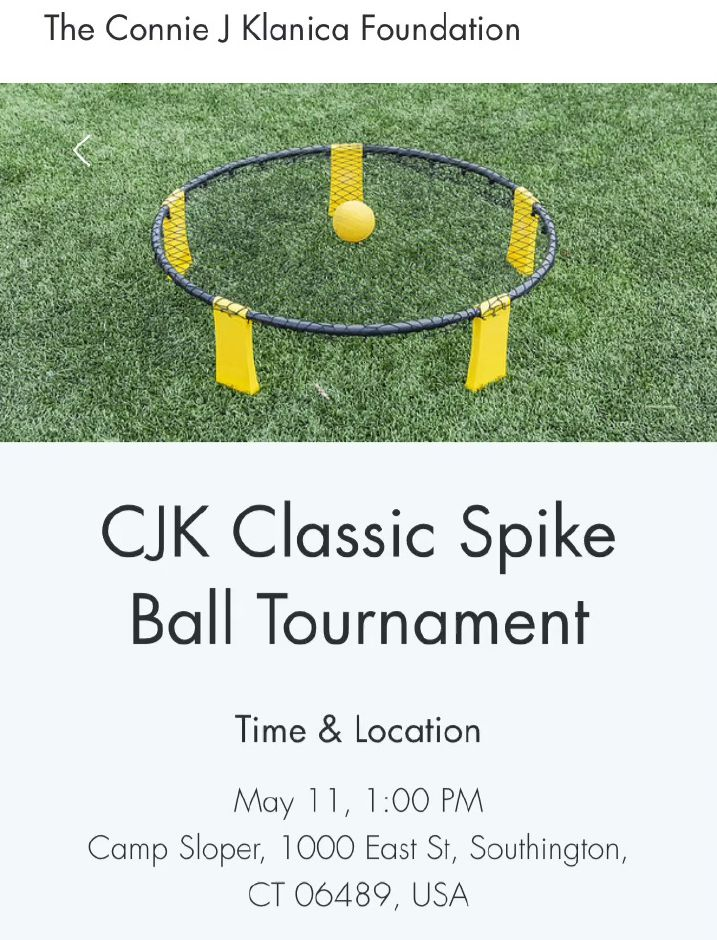 The first annual Connie J Klanica Foundation spikeball tournament will be held Saturday, May 11, at YMCA Camp Sloper Outdoor Center, 1000 East St., Southington. |Ashley Kus, Record-Journal