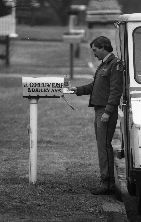 RJ file photo - Wallingford letter carrier Jim Carpenter is one of the carriers who helped start the Carrier Alert program, April 1989.