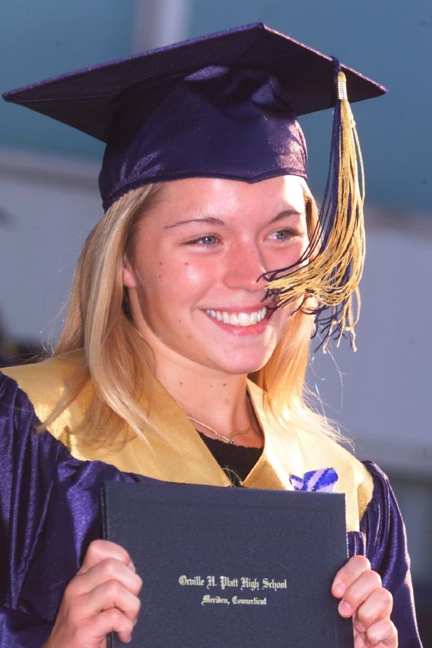 RJ file photo - Catherine Chambers holds up her diploma and smiles for her mother June 23, 1999.
