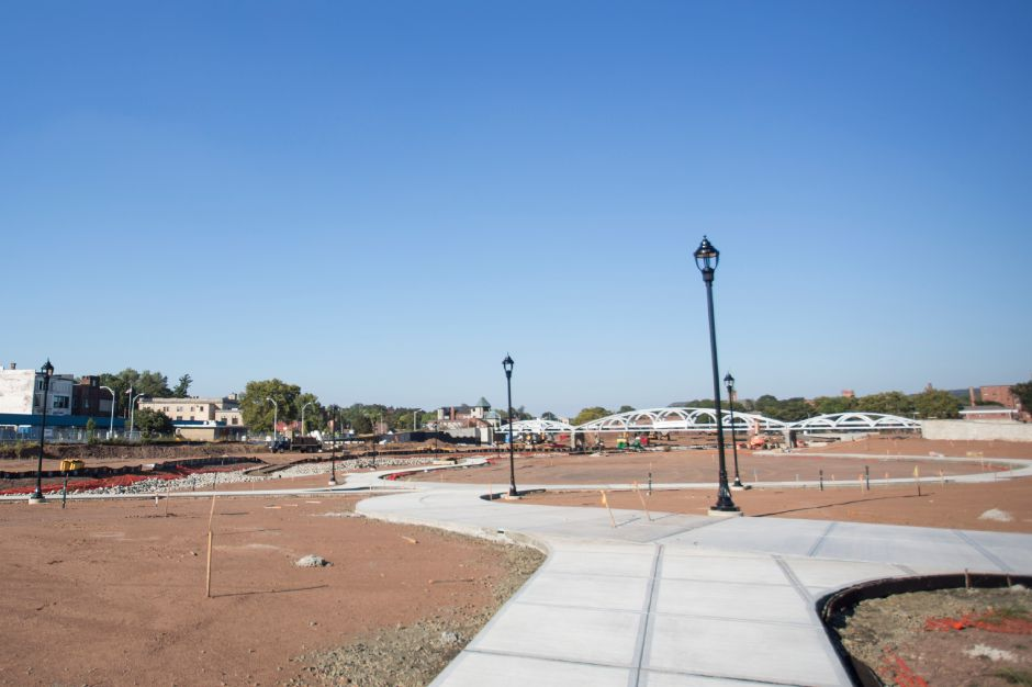 Decorative lamp posts went up at the Meriden Hub site this week as seen Sept. 18, 2015. | Richie Rathsack/Record-Journal
