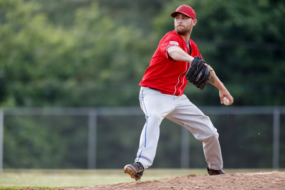 Record-Journal Expos Charlie Hesseltine delivers a pitch Monday at Ceppa Field in Meriden June 18, 2018 | Justin Weekes / Special to the Record-Journal
