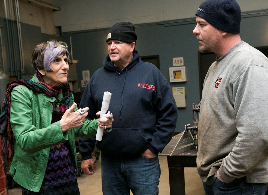 U.S. Congresswoman Rosa DeLauro talks with Charlie Crook, master mechanic, center, and Corey Paradis, welding instructor, at the International Union of Operating Engineers (IUOE) Local 478 Training Center on Cheshire Road in Meriden, Friday, April 6, 2018. DeLauro