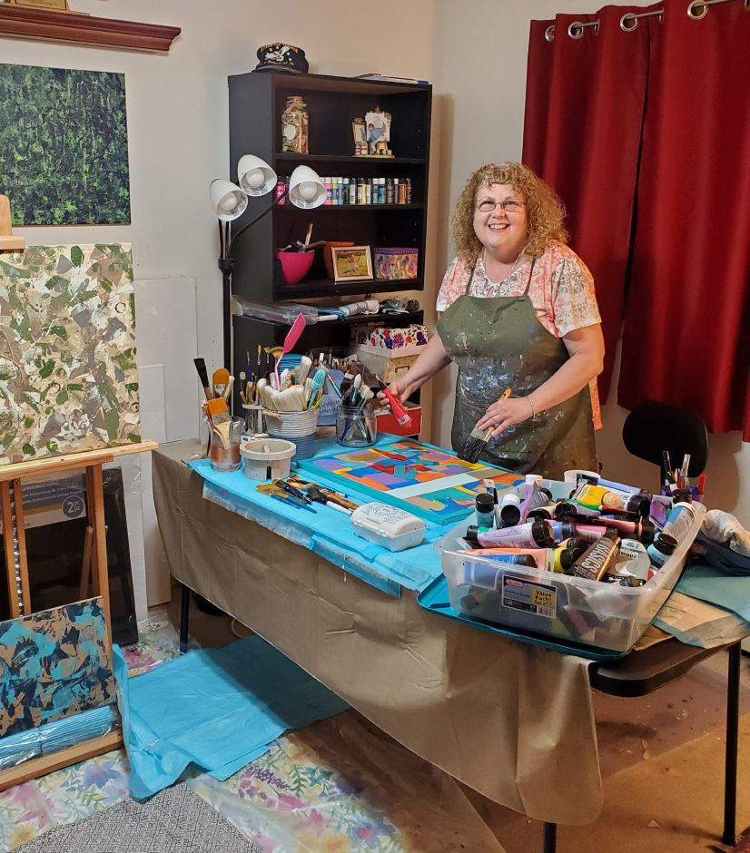 Debra Herrick Clen in her art room in Southington. | Photo Courtesy Debra Herrick Clen