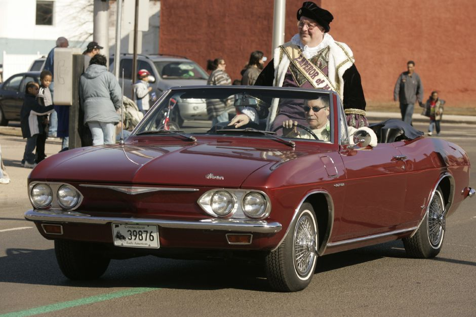 "The ""Emperior of Meriden"", Frank Ridley, rides in a classic Corvair in Meriden"
