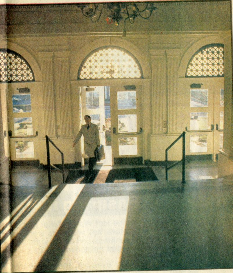 File photo - The first member of the public enters the front lobby of the Wallingford Town Hall at 9 a.m. Feb. 6, 1989.