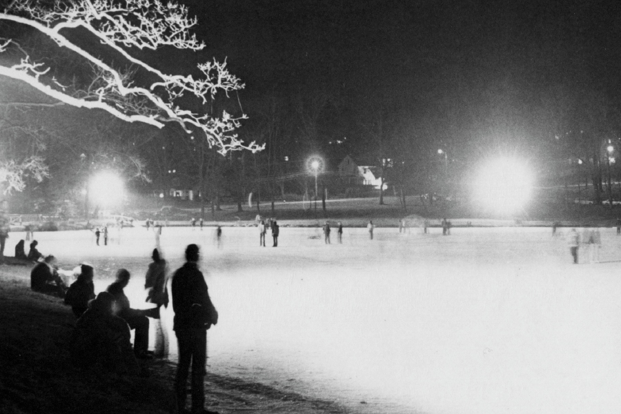 Left: Skaters take to the ice at night on Mirror Lake in Hubbard Park in December 1976. Right: For the first time in more than 10 years, Hubbard Park was open to public skating on Monday. File photos, Record-Journal