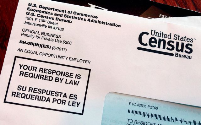 FILE - This March 23, 2018, file photo shows an envelope containing a 2018 census letter mailed to a U.S. resident as part of the nation