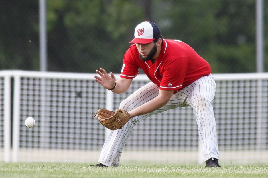 Jason Sullivan jacked a first-inning grand slam to lift the Record-Journal Expos to their latest Greater Hartford Twilight Baseball League victory, a 4-3 decision over Rainbow Graphics in Marlborough. | Justin Weekes / Special to the Record-Journal