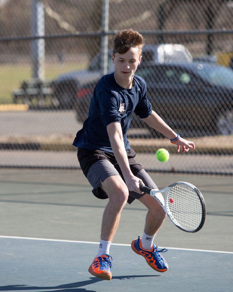 Corey Flynn scored a 7-5, 6-2 win at No. 1 singles for Lyman Hall in Tuesday's 7-0 SCC boys tennis victory over East Haven. | Justin Weekes / Special to the Record-Journal