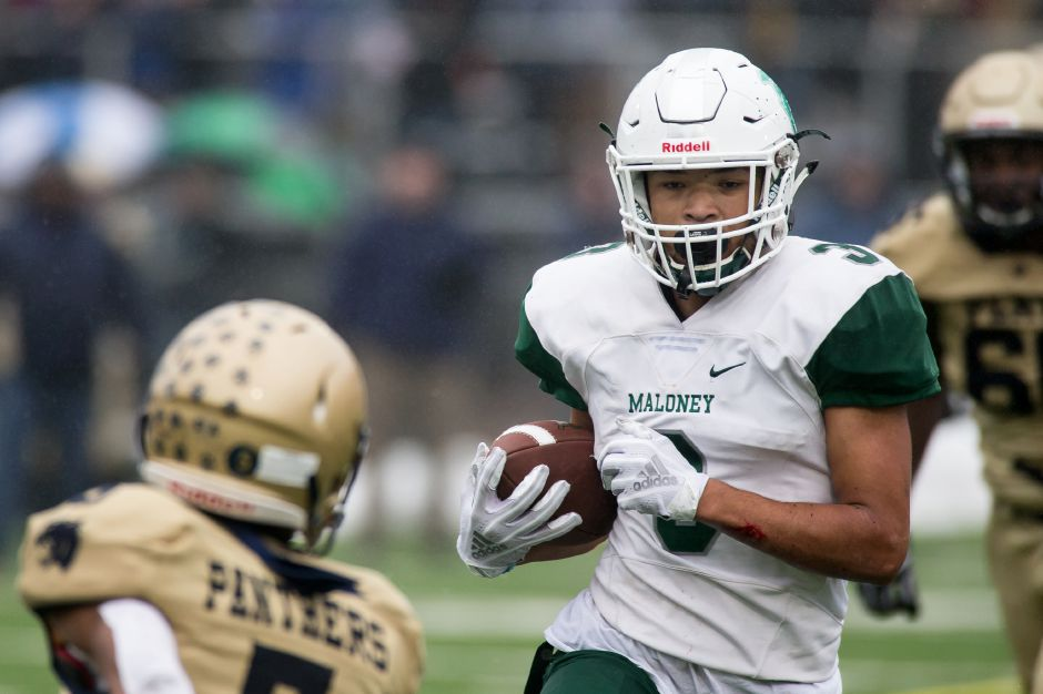 Maloney senior Victor Marquez, the holder of virtually every school record for receiving, was among the top 26 vote-getters in voting for the CHSCA All-State teams. | Justin Weekes / Special to the Record-Journal