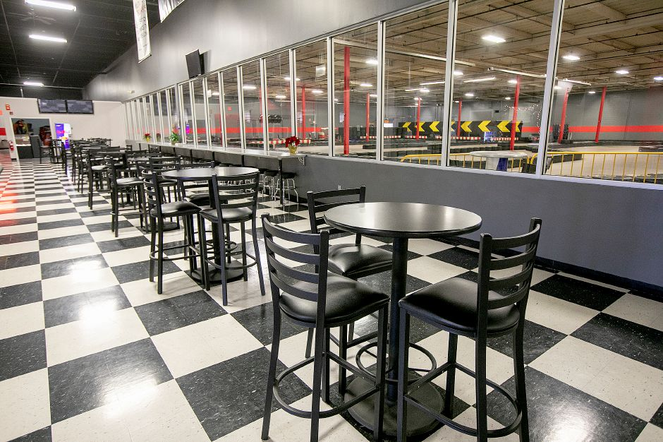 Seating area with views of the track at On Track Karting in Wallingford. Dave Zajac, Record-Journal