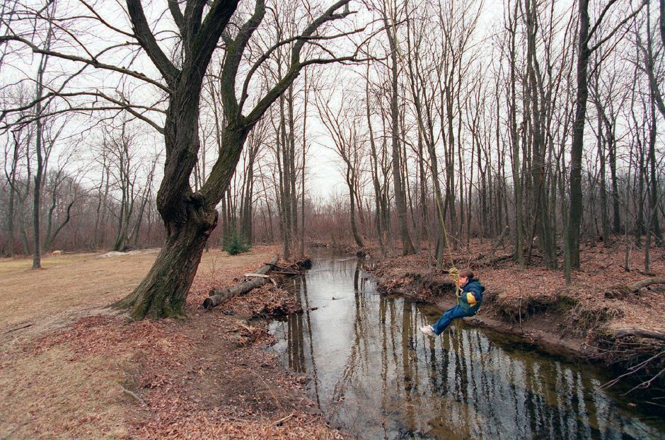RJ file photo - Scott Castico, 7, swings on a rope swing across a stream in his family