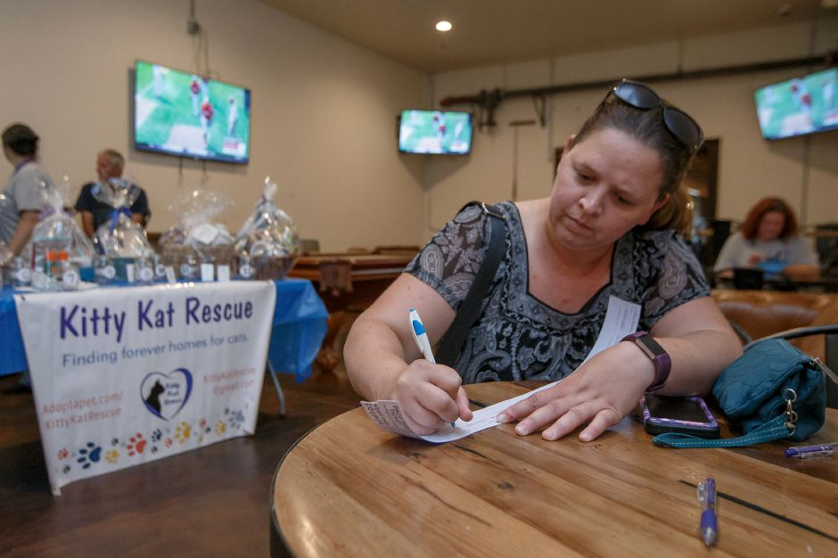 Jayne Smalley of North Haven fills out raffle tickets before selecting her choices Saturday during Pints for Paws fund raiser for Kitty Kat Rescue at Kinsmen Brewing in Milldale August 11, 2018 | Justin Weekes / Special to the Record-Journal