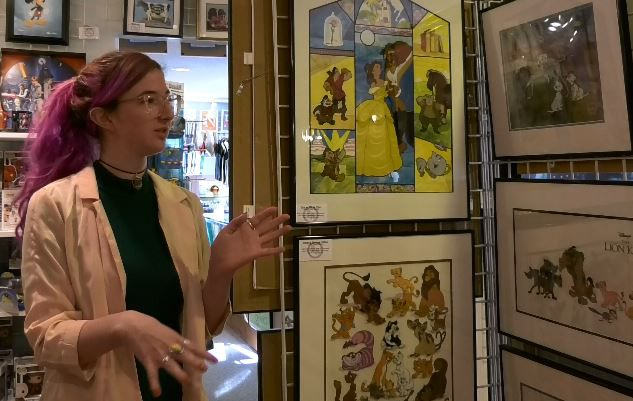 Madeline McGrail, gallery director, talks about the various art work at the Barker Animation Art Gallery, 1188 Highland Avenue, Cheshire. |Ashley Kus, Record-Journal