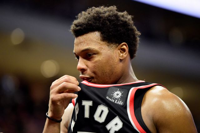 Toronto Raptors guard Kyle Lowry reacts late in the second half of Game 2 of the team