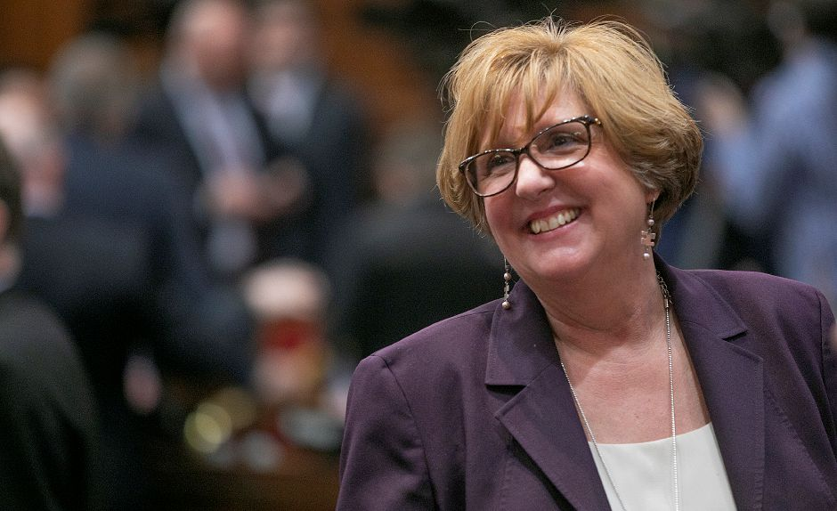 Rep. Cathy Abercrombie smiles during opening day of the 2019 legislative session in Hartford, Wed., Jan. 9, 2019. Dave Zajac, Record-Journal