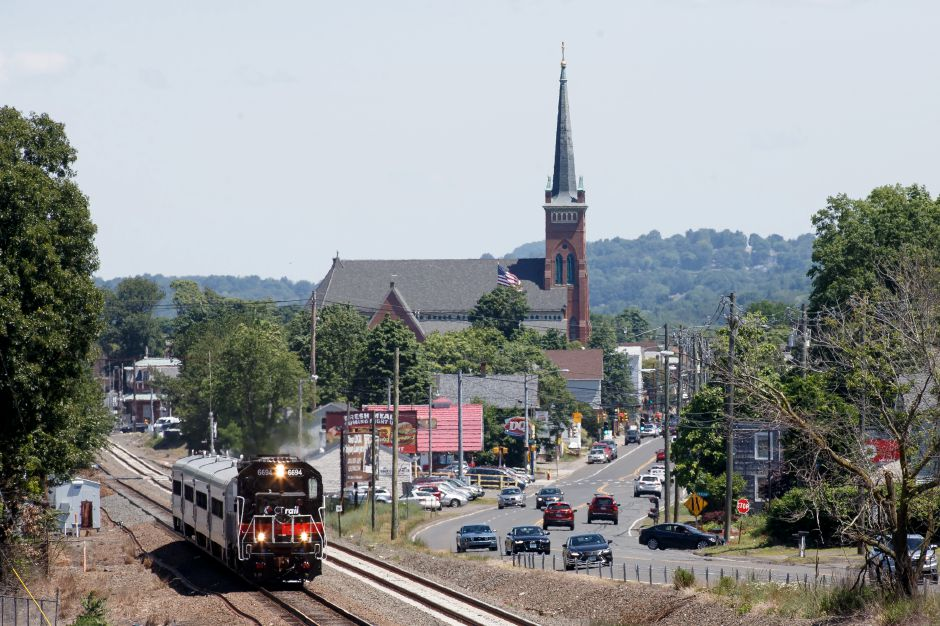 CT Rail 6694 leaves Wallingford for New Haven Saturday during the opening weekend of the CT Rail Hartford Line in Wallingford June 16, 2018 | Justin Weekes / Special to the Record-Journal