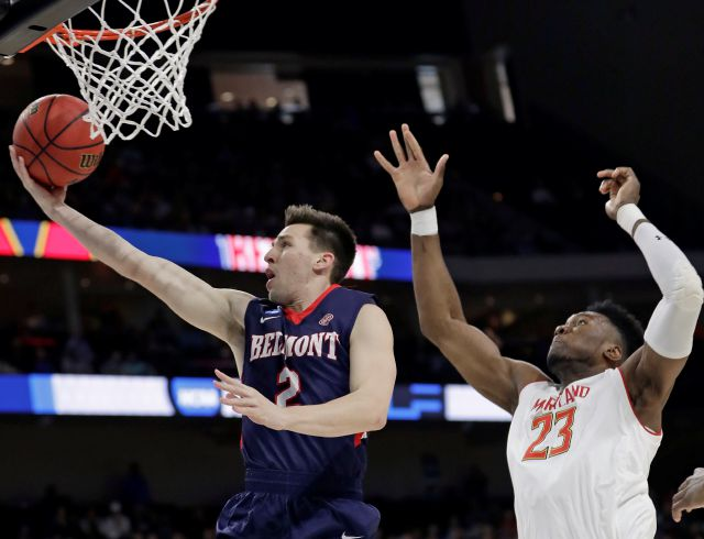 Belmont guard Grayson Murphy (2) gets off a shot ahead of Maryland