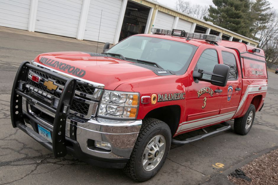 Wallingford Fire Rescue 3 parked at the town garage, Thurs., Mar. 21, 2019. The truck is slated to return to service Monday after a month off the road due to a budget shortfall. Dave Zajac, Record-Journal