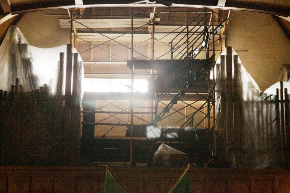 St. Rose Church on Center St. in Meriden Tues., July 11 with scaffolding on the front and in the organ loft. The front stained glass window has been removed and has been sent out for refurbishing and the organ pipes have been covered in plastic.