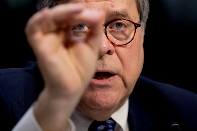 FILE - In this Jan. 15, 2019, file photo, then-Attorney General nominee William Barr testifies during a Senate Judiciary Committee hearing on Capitol Hill in Washington, Tuesday, Jan. 15, 2019. (AP Photo/Andrew Harnik, File)