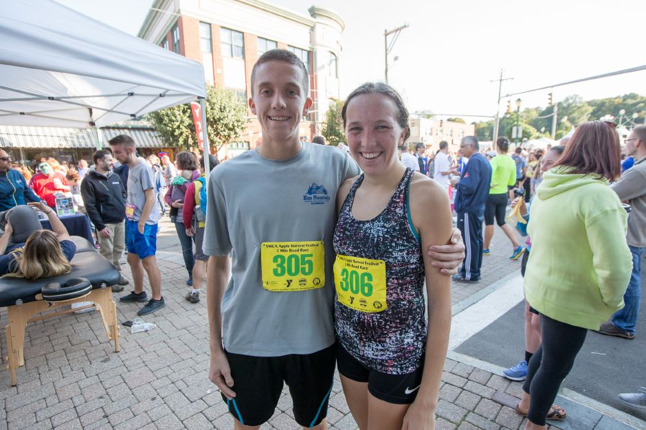 Stephen and Liz Fengler ran the 5 mile for the first time Liz finishing second for the women tenth overall and Stephen finished second for the men third overall Sunday during the Apple Harvest Southington YMCA 5K and 5 mile road race in Southington September 30, 2018 | Justin Weekes / Special to the Record-Journal