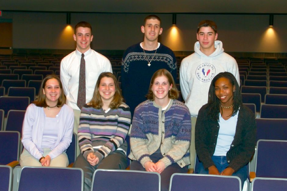 Southington Scholar Athletes, March 1999 - Front from left, Allison Perkins, Meredeth Williams, Gretchen Anderson, Allecia Reid. Rear from left, Jim McLaughlin, Gus Ververis and Rich Rivera.