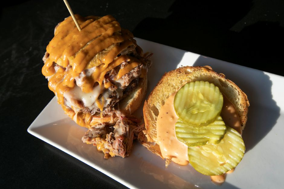 A Cuban B burger available at Knuckleheads, 80 Center St., Wallingford, Wednesday, Dec. 12, 2018. Dave Zajac, Record-Journal