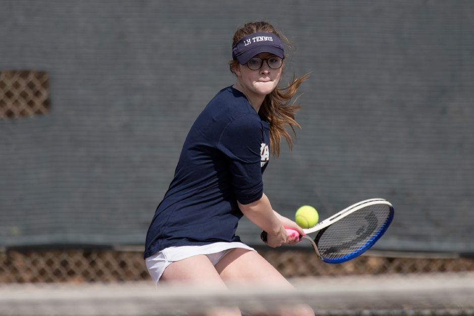 Maddie Kizer pulled out a three-set victory at No. 3 singles to lift the Lyman Hall girls tennis team to a 4-3 victory Thursday in West Haven. | Justin Weekes / Special to the Record-Journal