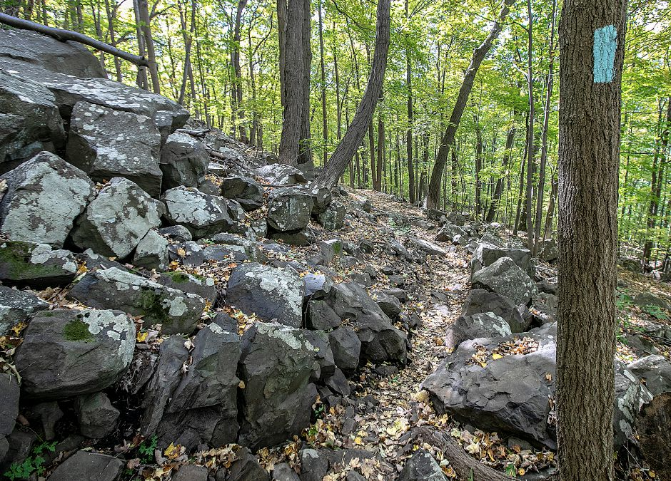 A rocky path along the blue trail to Chauncey Peak in Meriden