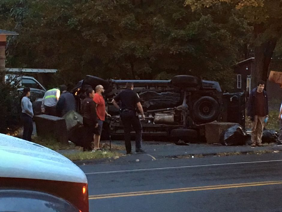 A rollover crash has closed a section of Old Colony Road. | Ryan Chichester, Record-Journal