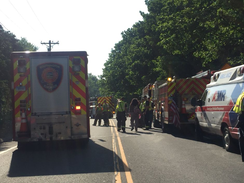 A section of the Meriden-Waterbury Turnpike in Southington is closed after a van crashed into a tree. | Bailey Wright, Record-Journal