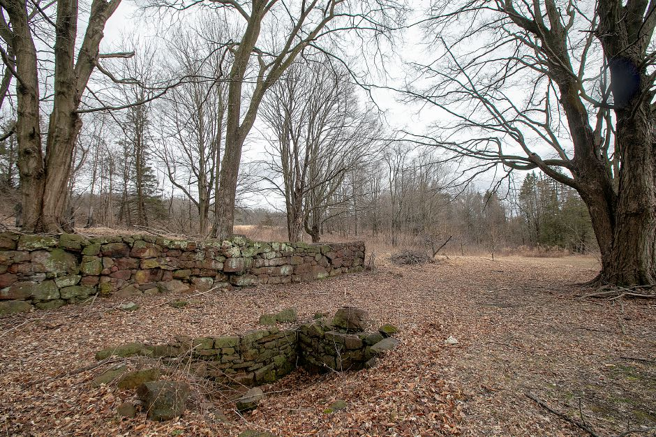 The remains of an underground railroad stop, bottom left, on the former Curtiss Farm on South End Road in Southington, as seen Friday. The remains will be preserved despite the planned construction of a subdivision nearby.  Dave Zajac, Record-Journal