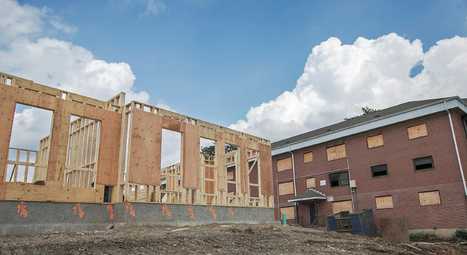 The Meriden Commons building under construction next to the Mills Memorial Apartments in Meriden, Wednesday, July 12, 2017. | Dave Zajac, Record-Journal