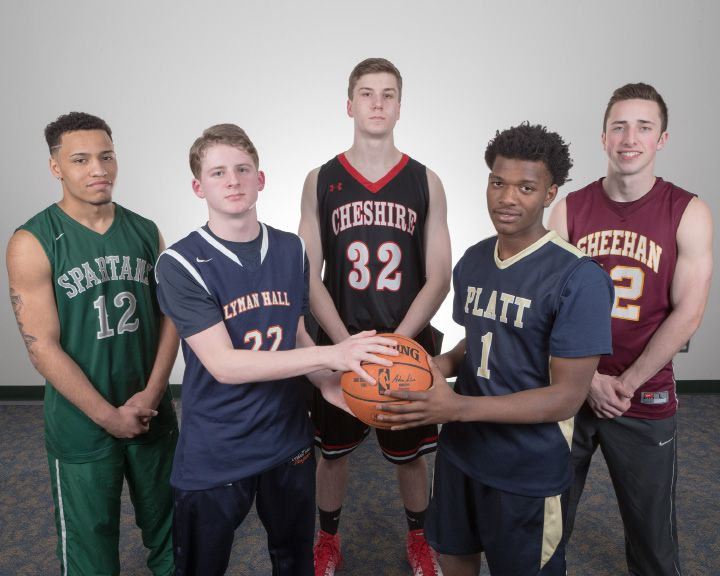 Introducing the 2017 All-Record-Journal boys basketball team, left to right: Alejandro Ortiz of Maloney, Kevin Ransom of Lyman Hall, Drew Hart of Cheshire, Kejoun West of Platt and Kyle Brennan of Sheehan. | Justin Weekes / For the Record-Journal