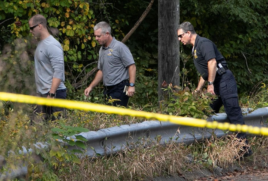 Police investigate after a missing person was found dead near the intersection of Mixville and Marion roads in Cheshire, Wednesday, Oct. 4, 2018. | Dave Zajac, Record-Journal