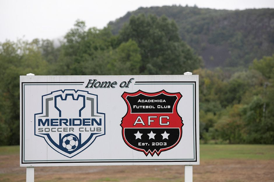 A Meriden Soccer Club sign between two soccer fields next to MidState Medical Center in Meriden, Tuesday, Sept. 18, 2018. MidState Medical Center is in talks with the city to relocate the soccer fields to make room for the hospital