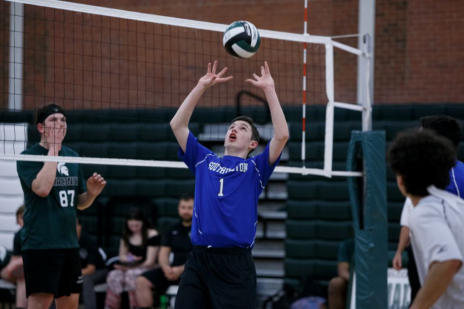 Zack Morgan handed out 30 assists as the Southington boys volleyball team improved to 13-0 with Friday night's 3-0 over Maloney in Meriden. | Justin Weekes / Special to the Record-Journal