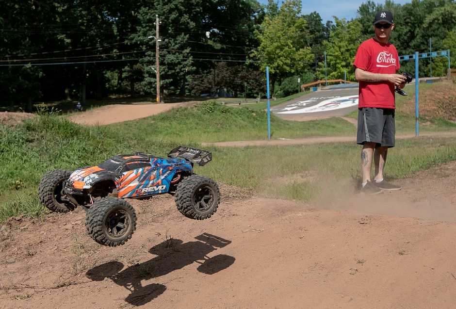 Michael Laurello, of Meriden, practices jumps with his remote-controlled car on a sunny summer afternoon at the Falcon BMX track in Meriden, Mon., Aug. 5, 2019. Dave Zajac, Record-Journal