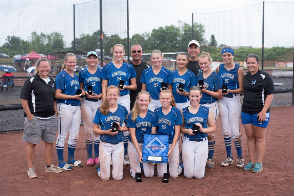 The Southington Lightning 05 softball team won this summer's USSSA Northeast Regional 14U national championship at Fast Pitch Nation in Windsor. Team members in the front row, left to right, are Elyse Picard, Emily Moskal, Emma Quint and Kaylen Smith. In the back row are coach Marci Moskal, Morgan Lasek, Hailey Zaczynski, Stella Blanchard, coach Bill Zesut, Riley McDermott, Cat Bachman, coach Ron Picard, Lorelei Stancavage, Sydney Miranda and coach Delaney Picard.